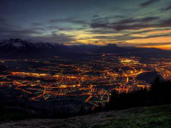 Nightshot Of Salzburg by Burtn