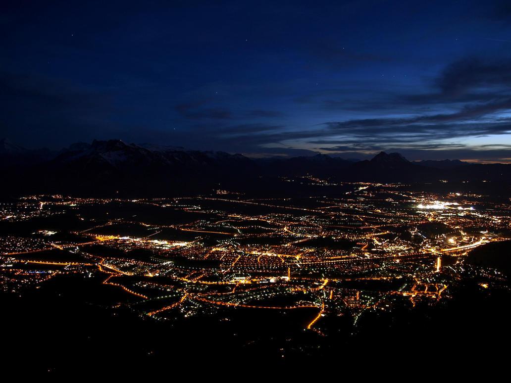 Nightshot Of Salzburg 2nd by Burtn