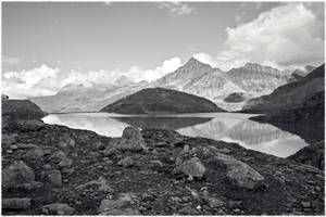 Mountainscape In BW by Burtn