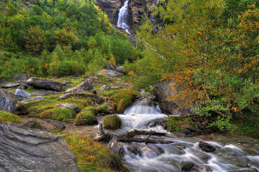 Fall Waterfall Background by Burtn