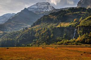 Mountain Background With Waterfall by Burtn