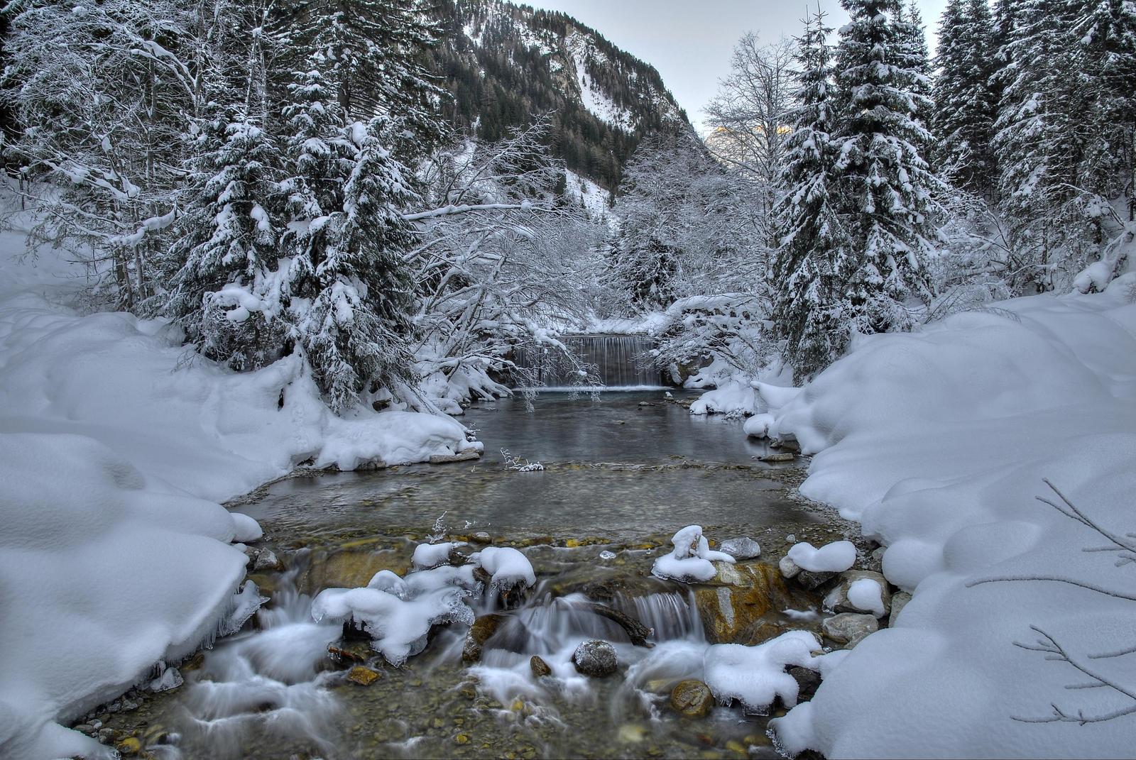 Snowy Riverscape by Burtn