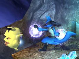 lucario punhing pikachu by riolu-fan