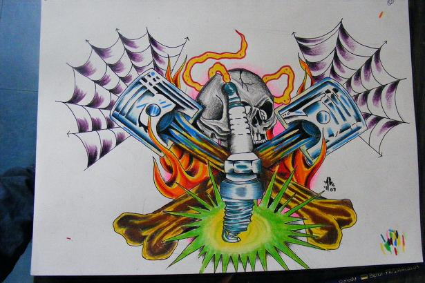 piston - chest tattoo