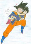 Son Goku and Chi-Chi Flying
