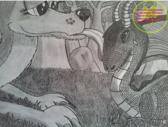 Flo and Sparx in traditional drawing by Lakword