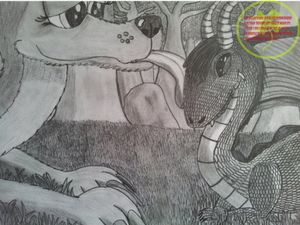 Flo and Sparx in traditional drawing