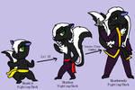 Skunkid,Skunkun+Skunkwondo (Fakemon Commission)