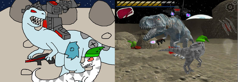 Frostgrile Vs Mecha-T-Rex  -  Drawing and ingame