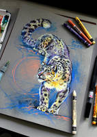 Pastel snow leopard by koel-art