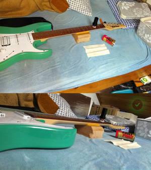 Guitar neck support hardwood final 3 Fats Fret