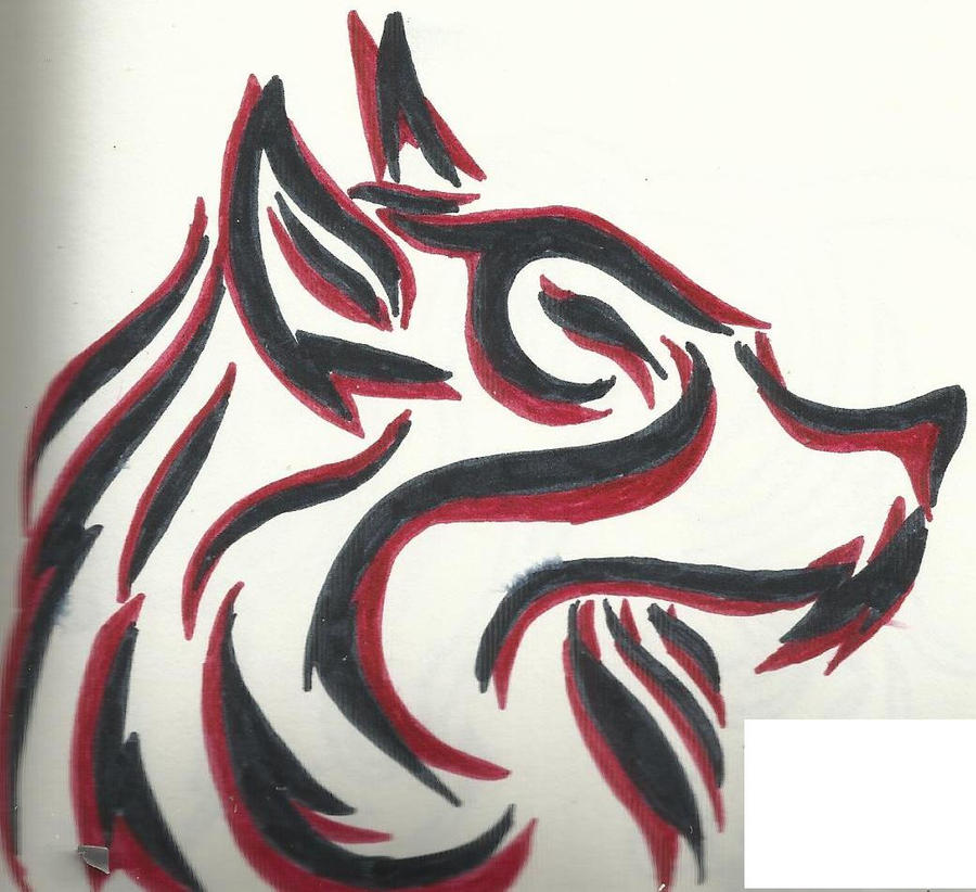 Red and black tribal wolf tattoo by tazimo on deviantart for Red wolf tattoo