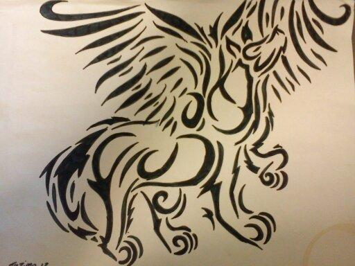 Tribal Winged Wolf by Tazimo on DeviantArt