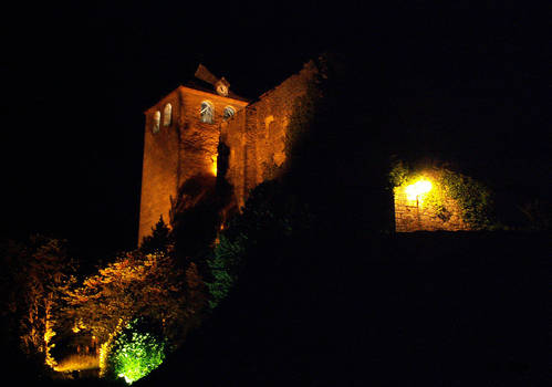 Montvalent fortress at night