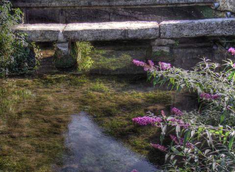 Stream and footbridge