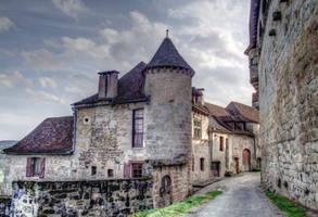 Medieval street Curemonte 02 by HermitCrabStock