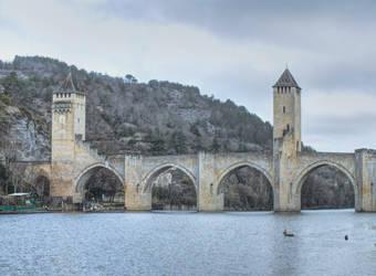 Medieval bridge - Pont Valentre - Cahors 01 by HermitCrabStock