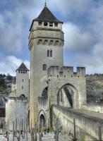 Medieval bridge - Pont Valentre - Cahors 05 by HermitCrabStock
