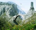 Fantasy fortress and bridge - Premade Background