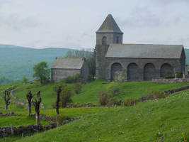 Old church in the Aubrac Mounts by HermitCrabStock