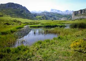 Picos de Europa 103 - Mountain lake by HermitCrabStock