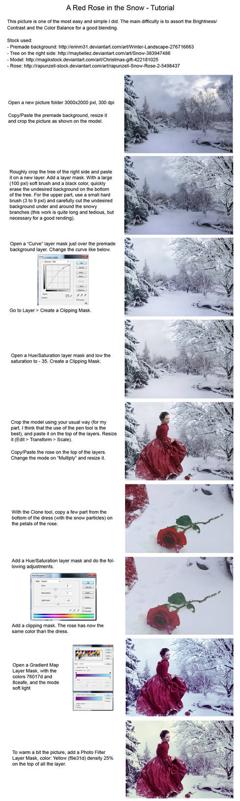 Tutorial Red Rose in the Snow