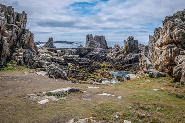 Ouessant Island 06 Seaside Cliff Rocks and Bridge by HermitCrabStock