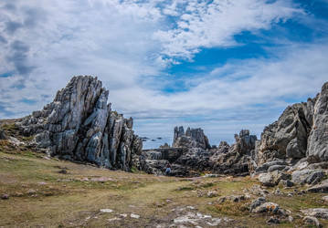 Ouessant Island 05 Seaside Cliff Rocks and Bridge by HermitCrabStock