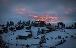 Avoriaz 059 - Snowy village at sunset by HermitCrabStock