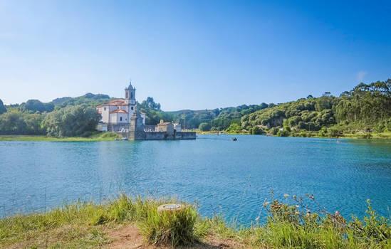 Asturias - DSCF5503 - Church on the Lake