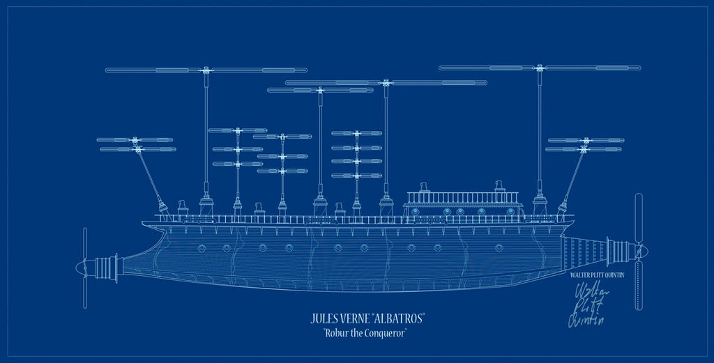 Albatros blue print from robur the conqueror by walterpq for Muro robur