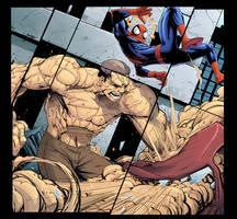 Spidey vs Sandman (in color) by DVSmallville