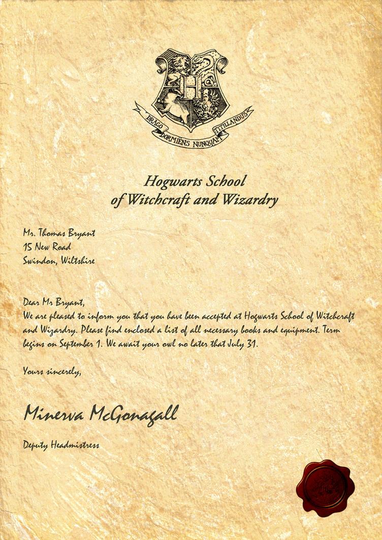 Hogwarts Acceptance Letter by LegionDesign on DeviantArt