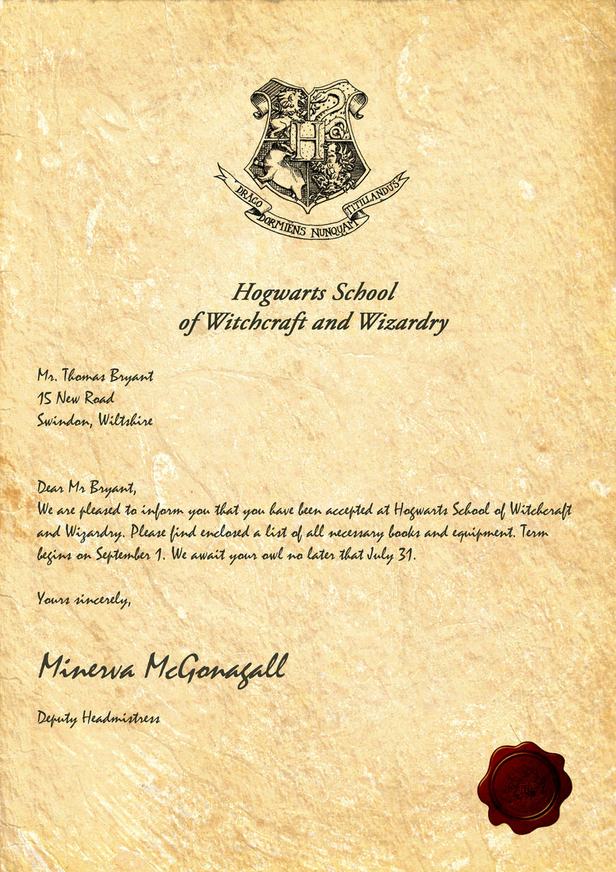 Hogwarts Acceptance Letter By Legiondesign On Deviantart