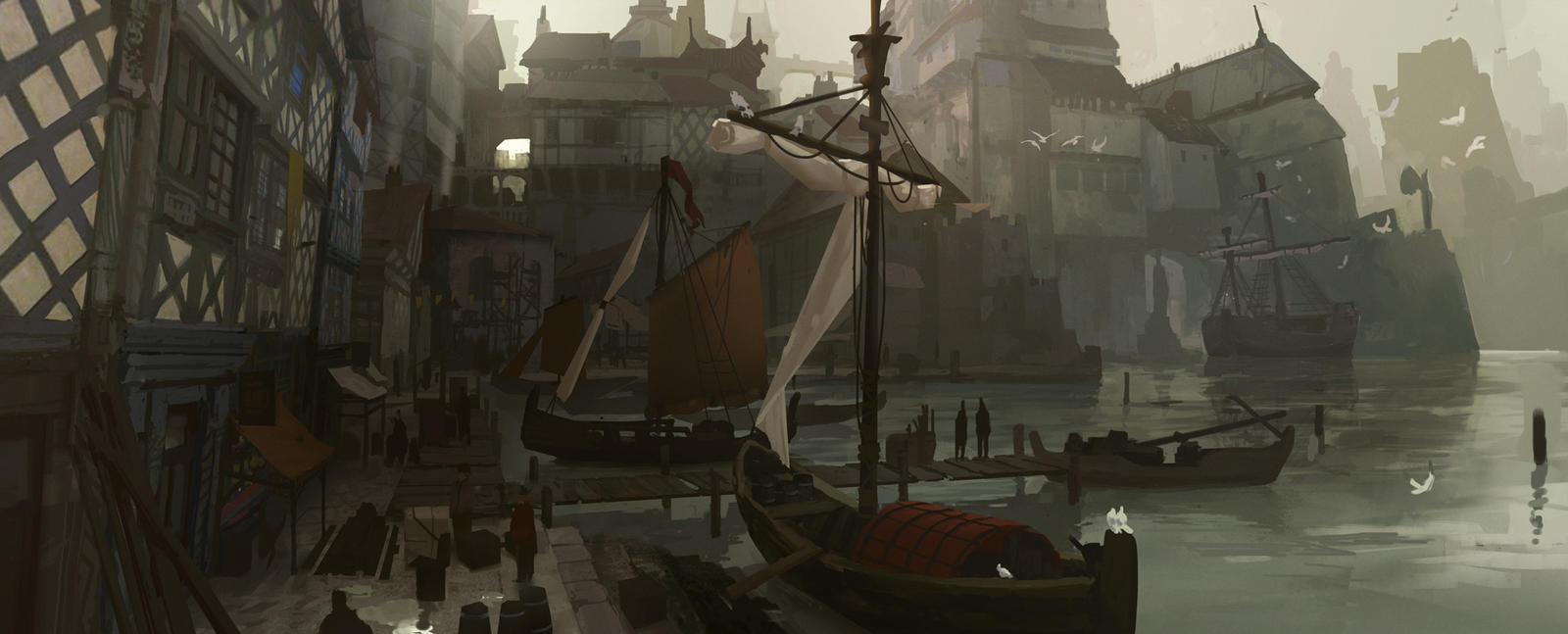 Medieval Port, by Kurobot