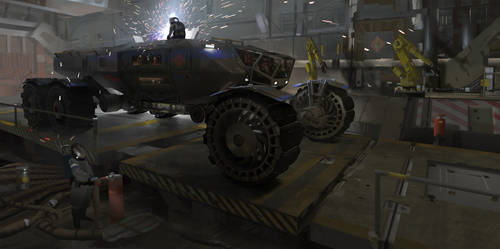 Heavy Martian Rover - Hangar by Kurobot