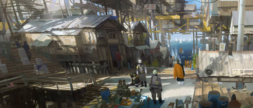 Fishermen Village, end of the century. by Kurobot