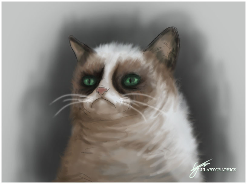 a grumpy cat by lullabygraphics on deviantart