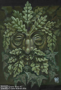 'Green Man #1' (Acrylic on card) 2016