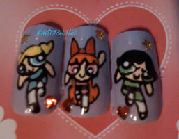 Powerpuff Girls Nails by SoCUTEicleNails