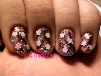 Glitter Cherry Blossoms Nails by SoCUTEicleNails