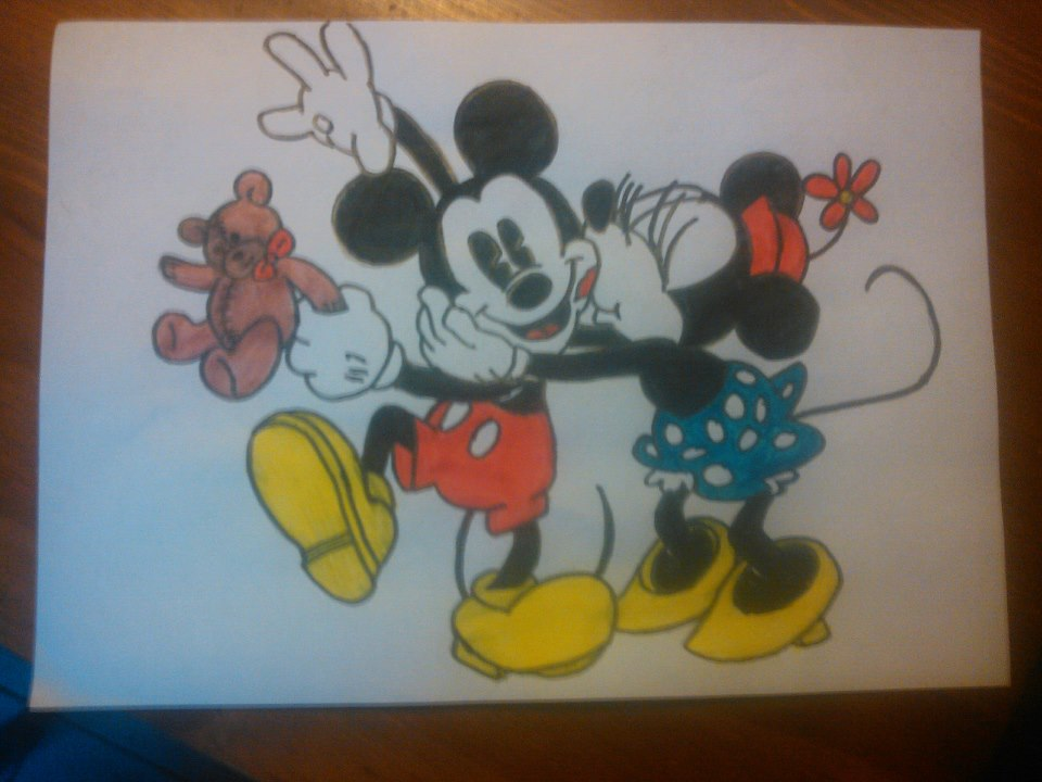 Mickey and Minnie Mouse drawing by liesannevanede on ...
