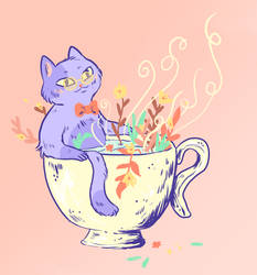 Cat in a Cup of Tea by Pascalou