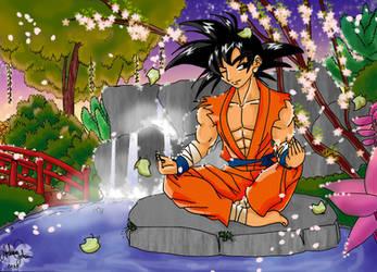 Goku meditation by AndressaYokoGohan