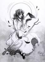 Inktober 2017 - Gloomy Girl #02 - Witch by Ludmila-Cera-Foce