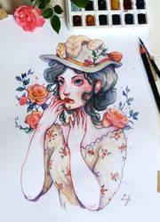 Marie-Antoinette eating Roses by Ludmila-Cera-Foce