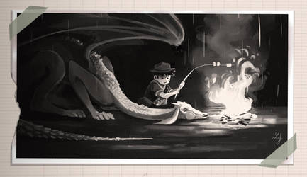 Dragon and boy scout