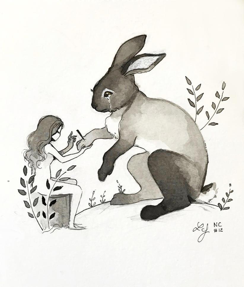 Inktober 2018 - Nature Creature 12 : Rabbit by Ludmila-Cera-Foce