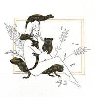 Inktober 2018 - Nature Creature 13 : Salamanders by Ludmila-Cera-Foce