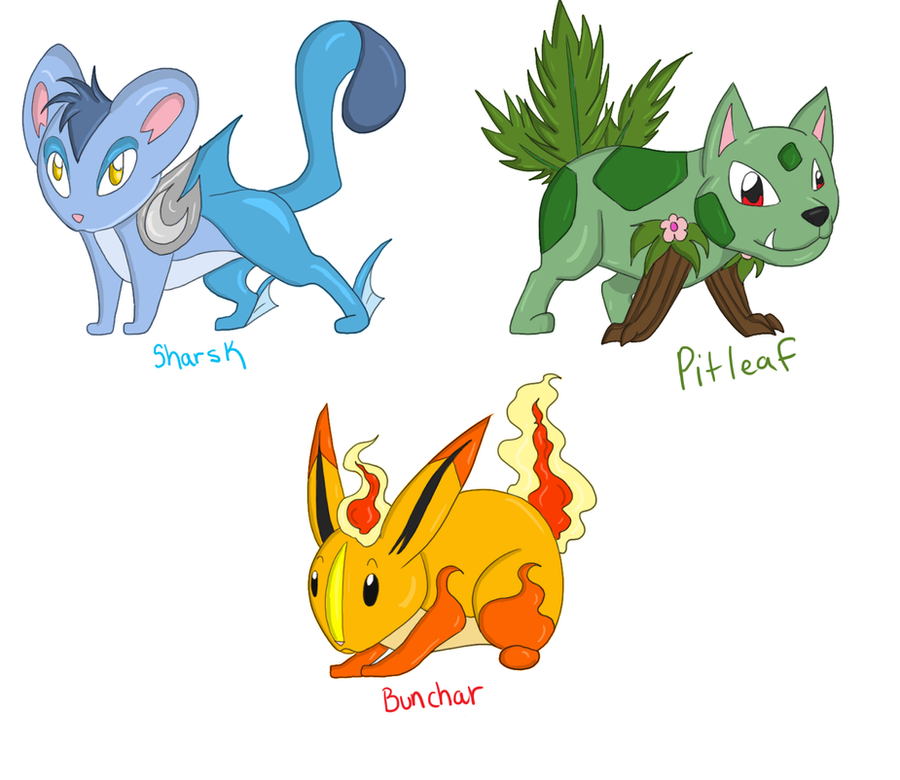 Fakemon Starters by WoofMewMew on DeviantArt